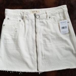 Free People Full Zip Denim Skirt